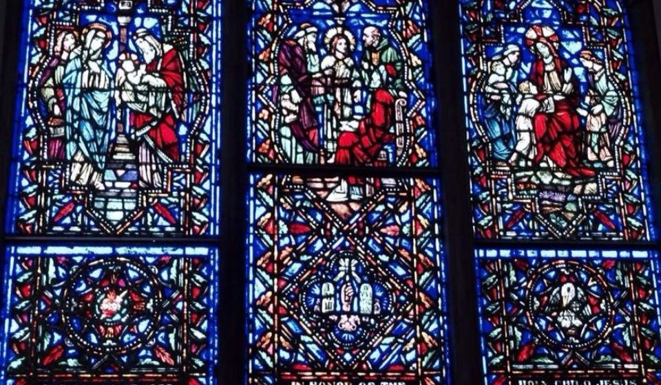 the stained glass windows found in The Mothers' Chapel.